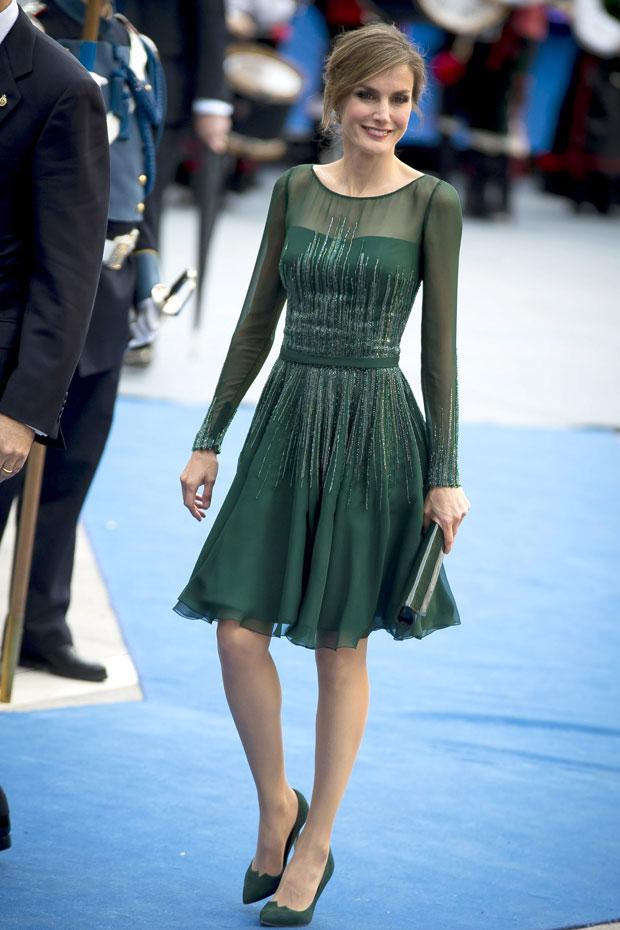 Letizia en el vestido verde